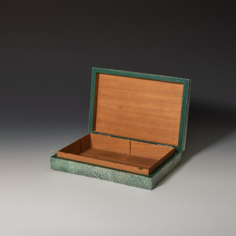 Shagreen Cigarette/Cigar Box With Silver Edging To The Lid, 1930 In Good Condition In London, GB