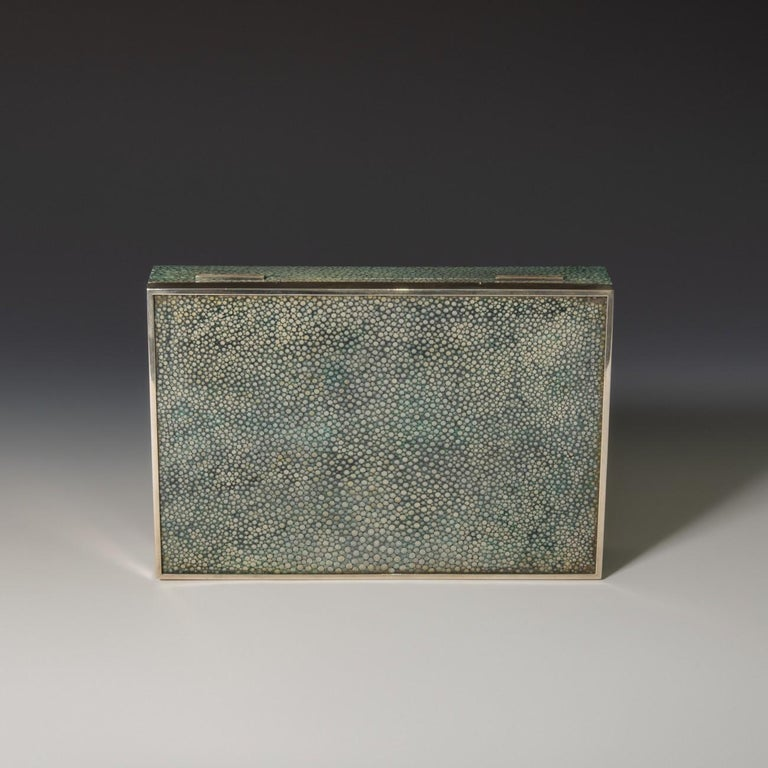 Mid-20th Century Shagreen Cigarette/Cigar Box With Silver Edging To The Lid, 1930