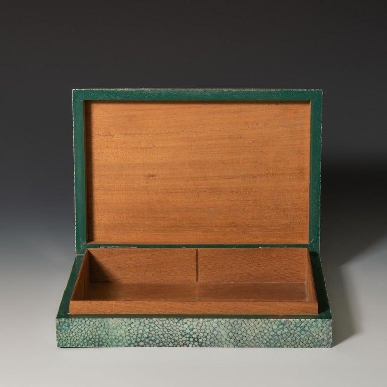 Sterling Silver Shagreen Cigarette/Cigar Box With Silver Edging To The Lid, 1930