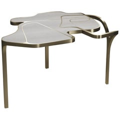 Shagreen Cocteau Coffee Table with Bronze Patina Brass Accents by R & Y Augousti