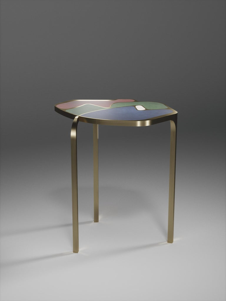 Shagreen Cocteau Side Table with Bronze Patina Brass Accents by R & Y Augousti For Sale 5