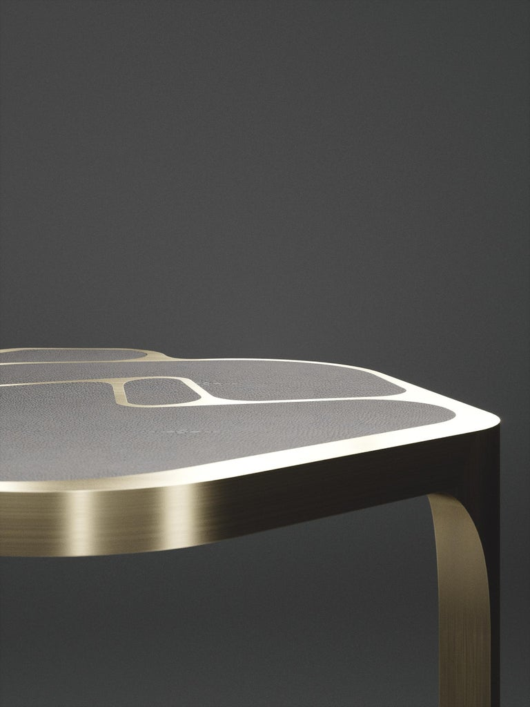 Shagreen Cocteau Side Table with Bronze Patina Brass Accents by R & Y Augousti For Sale 11
