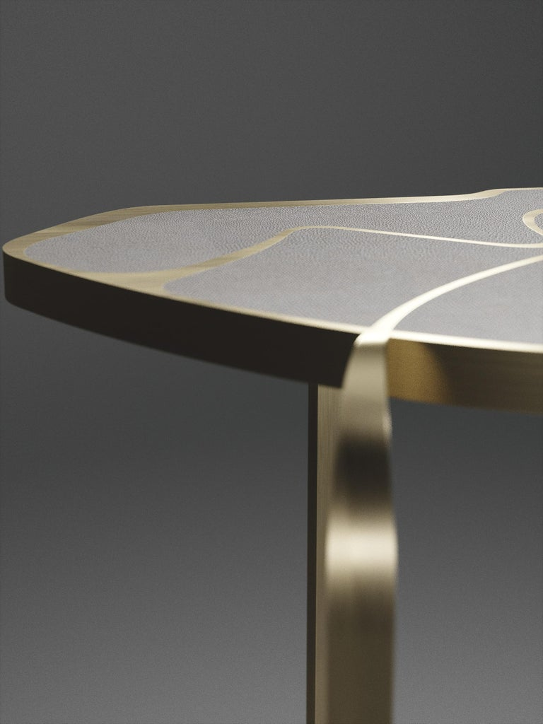 Shagreen Cocteau Side Table with Bronze Patina Brass Accents by R & Y Augousti For Sale 12