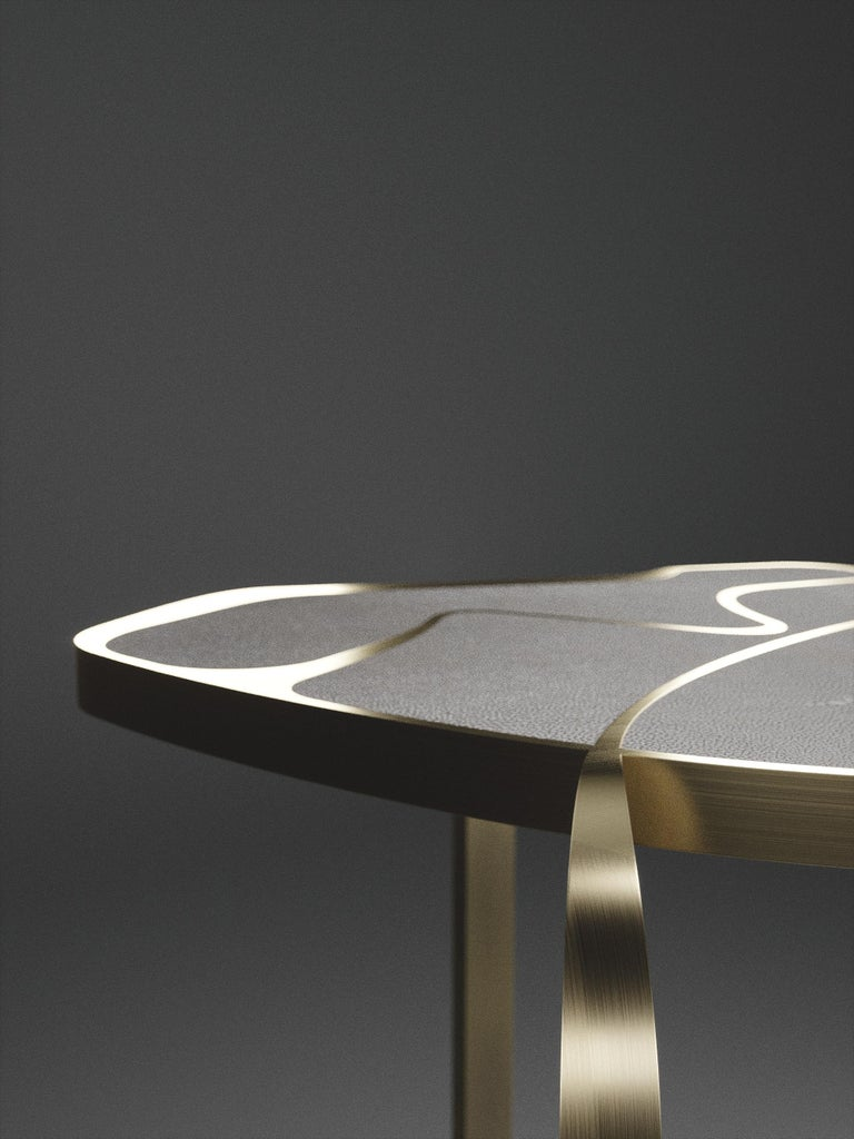 Shagreen Cocteau Side Table with Bronze Patina Brass Accents by R & Y Augousti In New Condition For Sale In New York, NY
