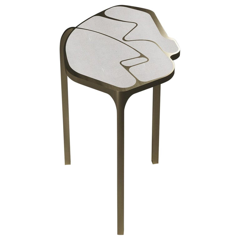 Shagreen Cocteau Side Table with Bronze Patina Brass Accents by R & Y Augousti For Sale