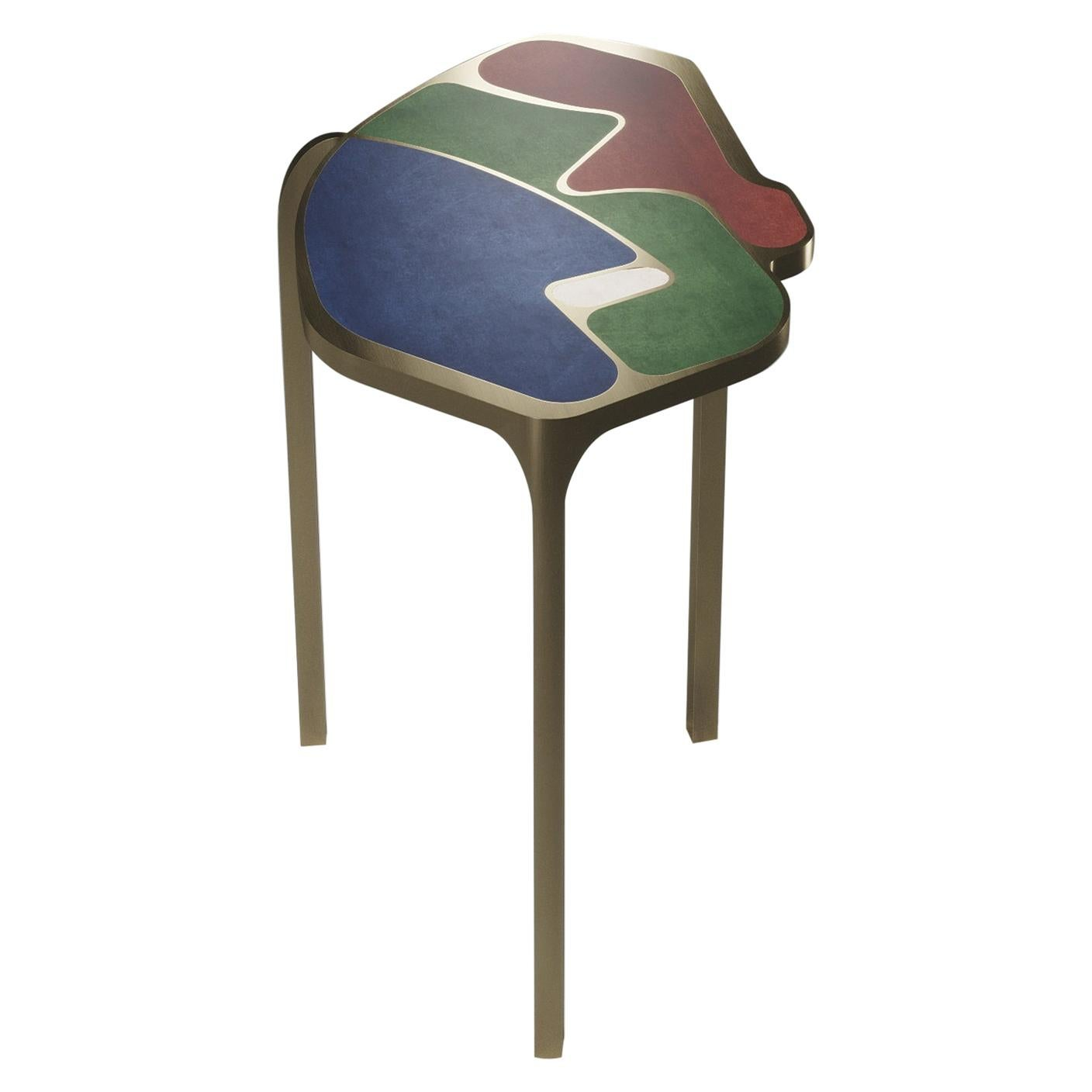 Shagreen Cocteau Side Table with Bronze Patina Brass Accents by R & Y Augousti
