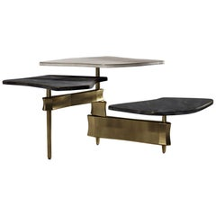 Shagreen Coffee Table with Shell and Bronze Patina Brass Accents by Kifu Paris