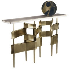 Shagreen Console Table with Bronze-Patina Brass Accents by Kifu Paris