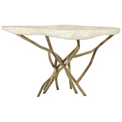 Shagreen Console with Bronze Base, Cream