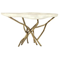 Shagreen Console with Decorative Designed Brass Base, Cream, in Stock