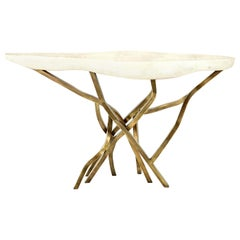 Shagreen Console with Decorative Designed Brass Base