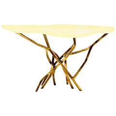 Shagreen Console with Decorative Designed Brass Base, in Stock, Contemporary