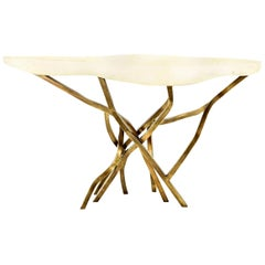 Shagreen Console with Decorative Designed Brass Base, in Stock