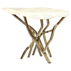 Shagreen Console with Decorative Designed Brass Base, Contemporary, in Stock
