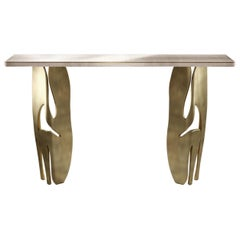 Shagreen Console with Sculptural Bronze-Patina Brass Legs by R & Y Augousti