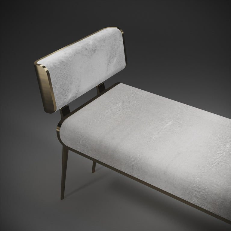 Shagreen Daybed with Bronze-Patina Brass and Fur Upholstery by Kifu Paris For Sale 5