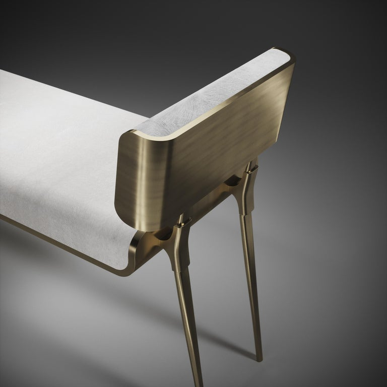 Shagreen Daybed with Bronze-Patina Brass and Fur Upholstery by Kifu Paris For Sale 6
