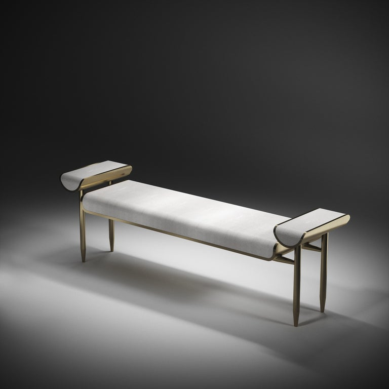 Shagreen Daybed with Bronze-Patina Brass and Fur Upholstery by Kifu Paris For Sale 7
