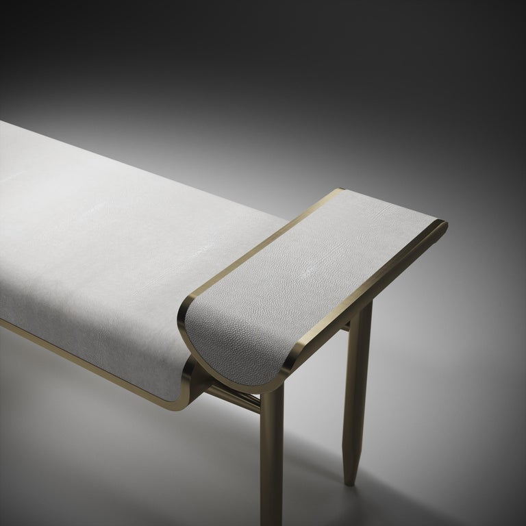 Shagreen Daybed with Bronze-Patina Brass and Fur Upholstery by Kifu Paris For Sale 8