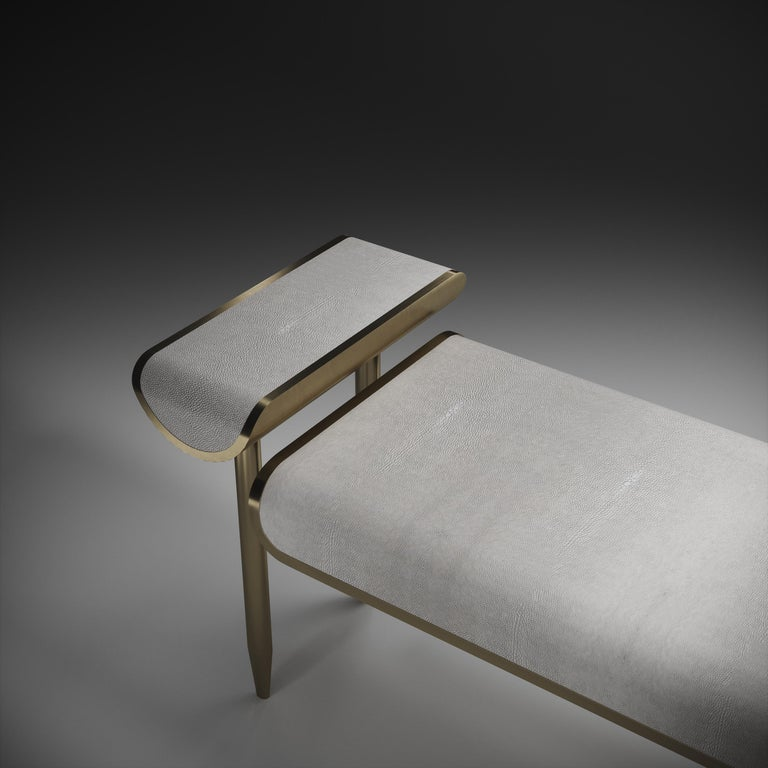 Shagreen Daybed with Bronze-Patina Brass and Fur Upholstery by Kifu Paris For Sale 9