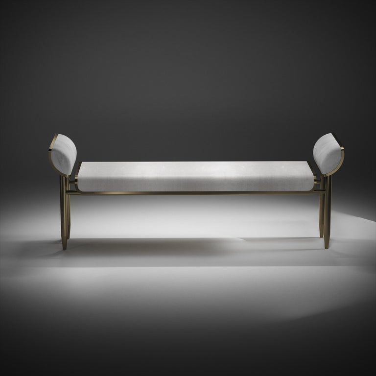 Shagreen Daybed with Bronze-Patina Brass and Fur Upholstery by Kifu Paris For Sale 10