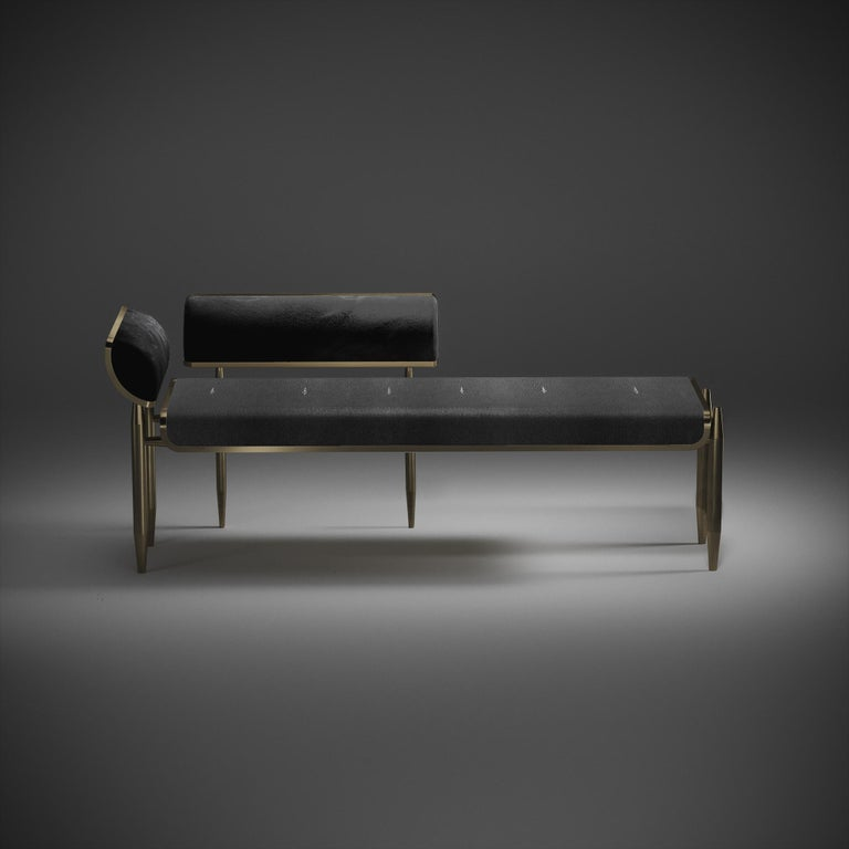 Inspired by the original Dandy bench by Kifu Paris (see images at end of slide), the Dandy II day bed is the ultimate luxury seating. The seating area is inlaid in black shagreen and the frame, legs and sides of the bench are completely inlaid in