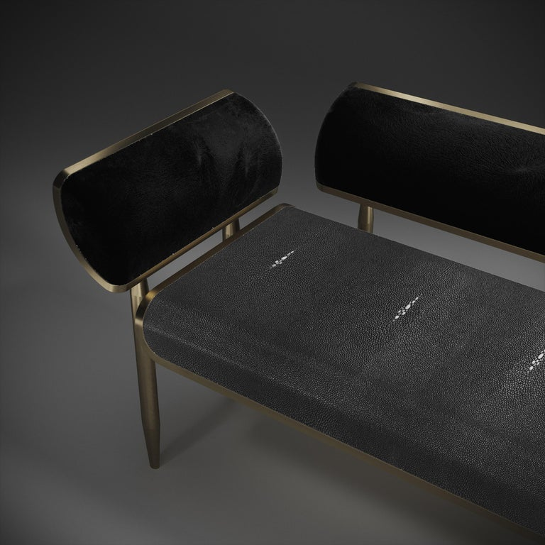 French Shagreen Daybed with Bronze-Patina Brass and Fur Upholstery by Kifu Paris For Sale