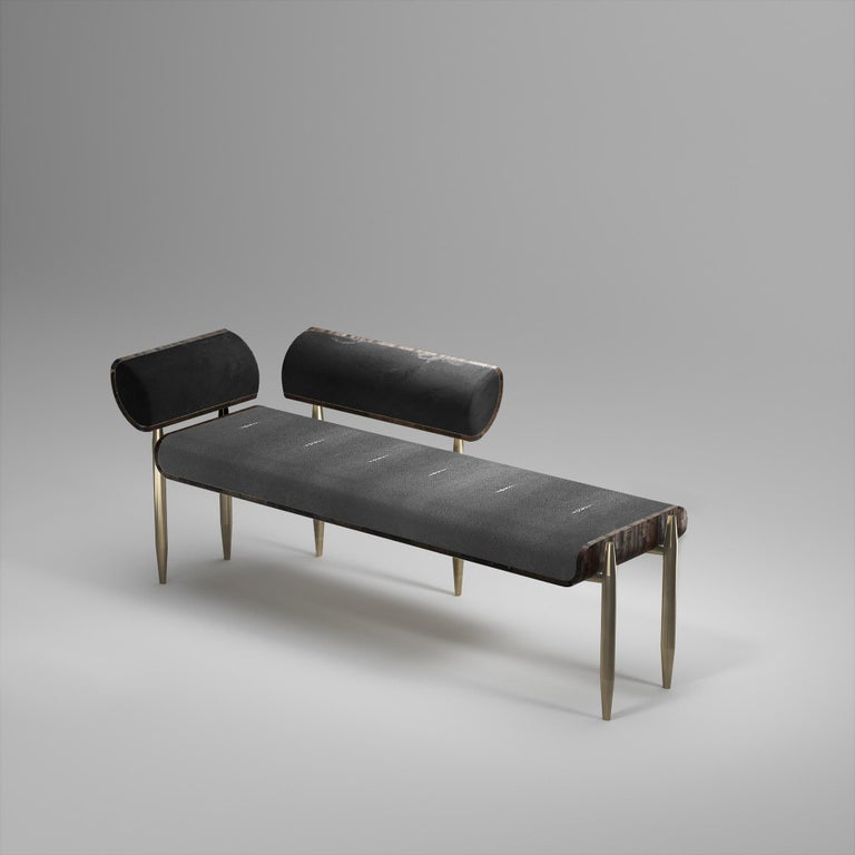 Hand-Crafted Shagreen Daybed with Bronze-Patina Brass and Fur Upholstery by Kifu Paris For Sale