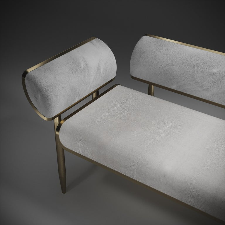 Shagreen Daybed with Bronze-Patina Brass and Fur Upholstery by Kifu Paris For Sale 2