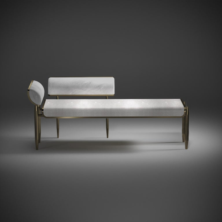 Shagreen Daybed with Bronze-Patina Brass and Fur Upholstery by Kifu Paris For Sale 1