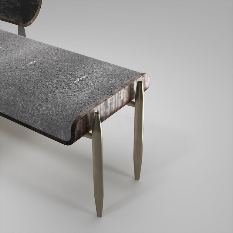 Contemporary Shagreen Daybed with Bronze-Patina Brass and Fur Upholstery by Kifu Paris For Sale