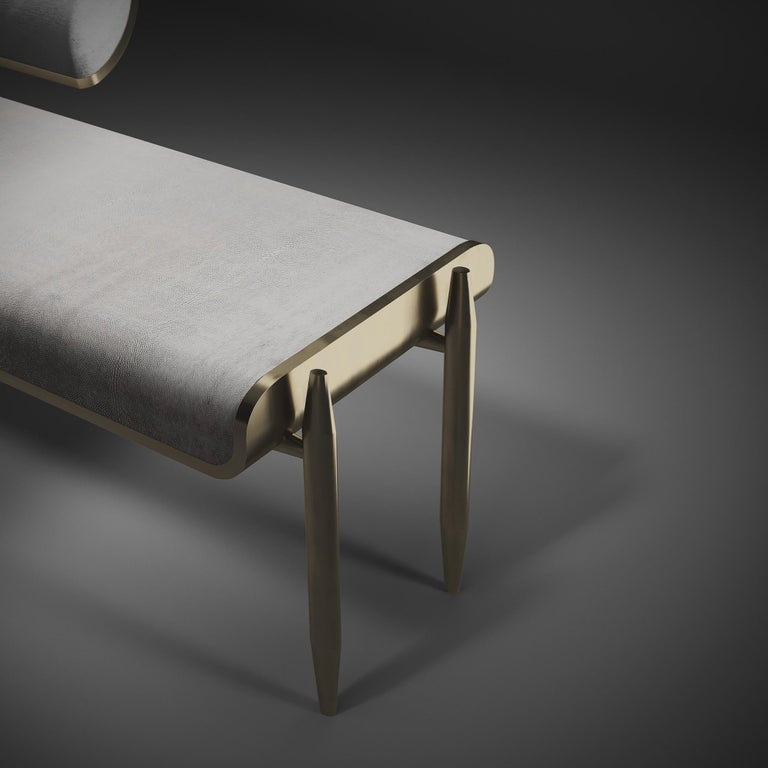 Shagreen Daybed with Bronze-Patina Brass and Fur Upholstery by Kifu Paris For Sale 3