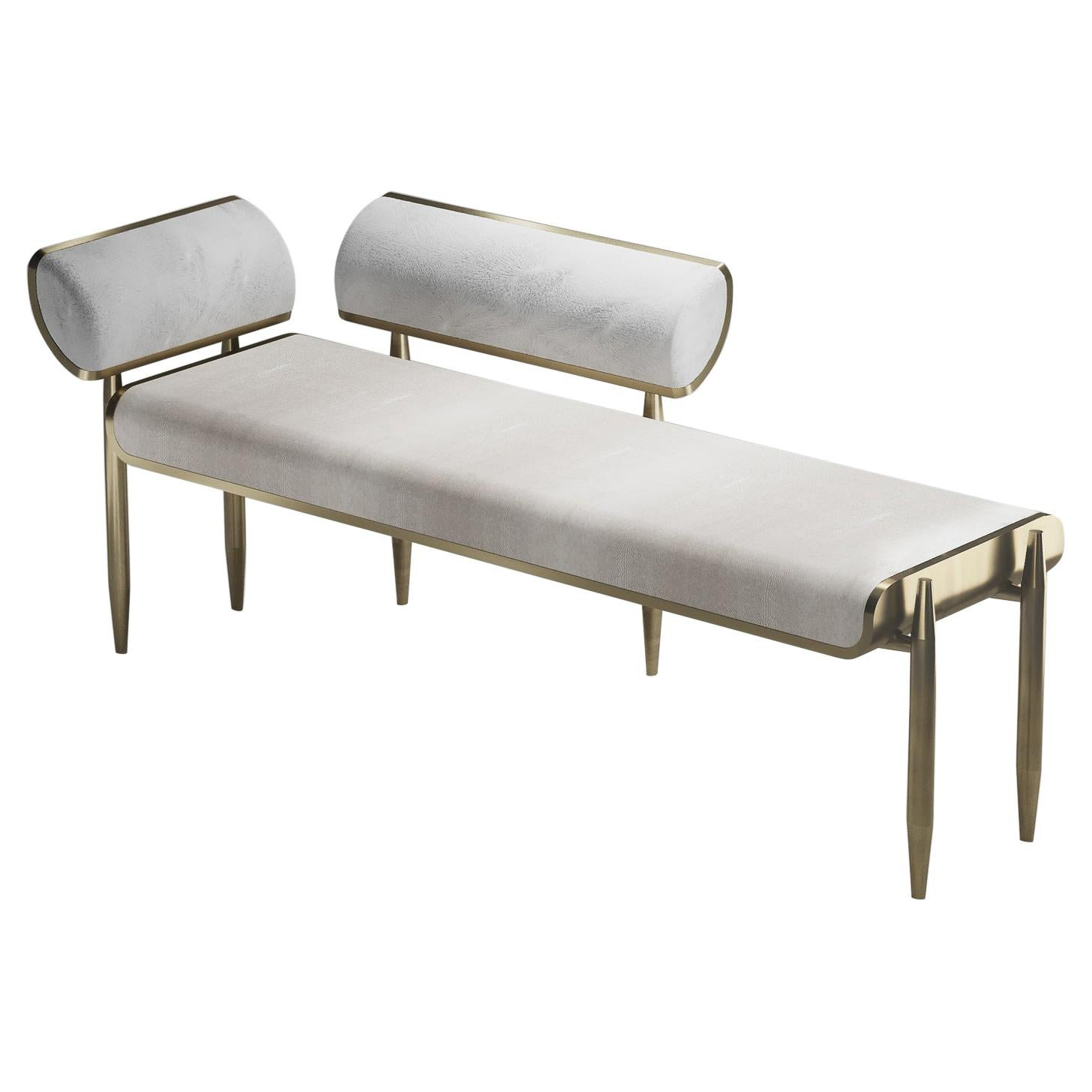 Shagreen Daybed with Bronze-Patina Brass and Fur Upholstery by Kifu Paris