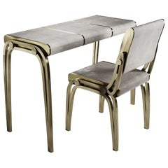 Shagreen Desk with Bronze-Patina Brass Accents by R&Y Augousti