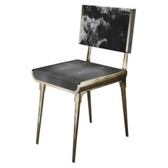 Shagreen Dining Chair with Bronze-Patina Brass Details by Kifu Paris