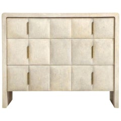 Shagreen Dresser, Cream Color with Brass Handles, Art Deco Style