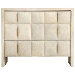 Shagreen Dresser, Cream Color with Bronze Handles, Art Deco Style
