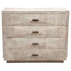 Shagreen Dresser with Brass Handles, Art Deco Style