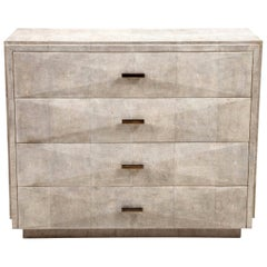 Shagreen Dresser with Brass Handles, Art Deco Style, in Stock