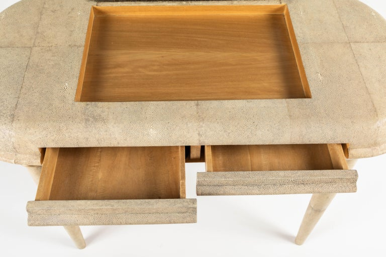 Shagreen Dressing Table and Stool by R&Y Augousti, Paris For Sale 2
