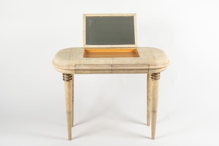 Shagreen Dressing Table and Stool by R&Y Augousti, Paris For Sale 3
