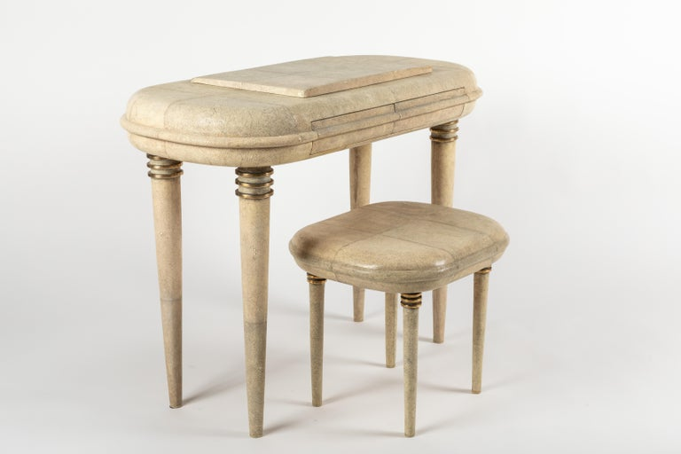 Shagreen Dressing Table and Stool by R&Y Augousti, Paris For Sale 5