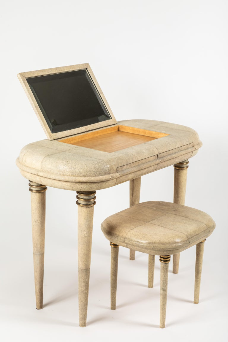 Shagreen Dressing Table and Stool by R&Y Augousti, Paris For Sale 6
