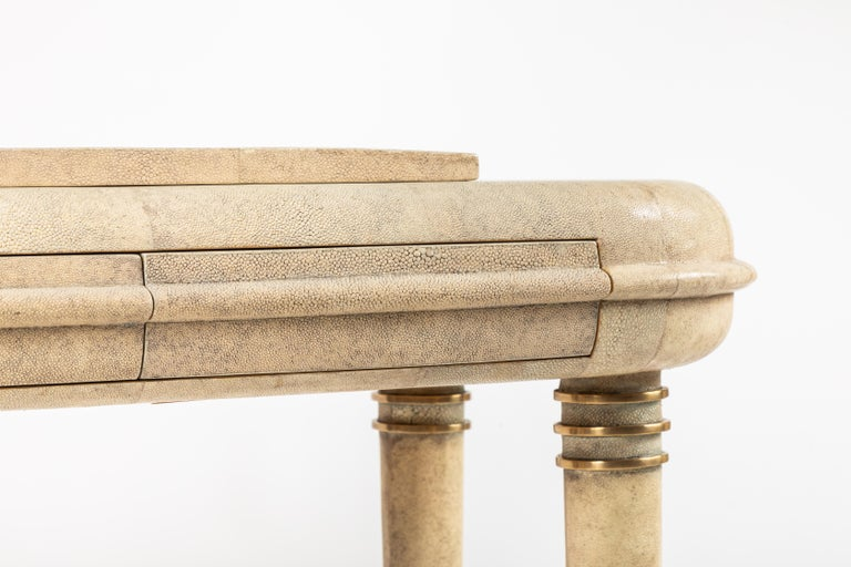 Brass Shagreen Dressing Table and Stool by R&Y Augousti, Paris For Sale