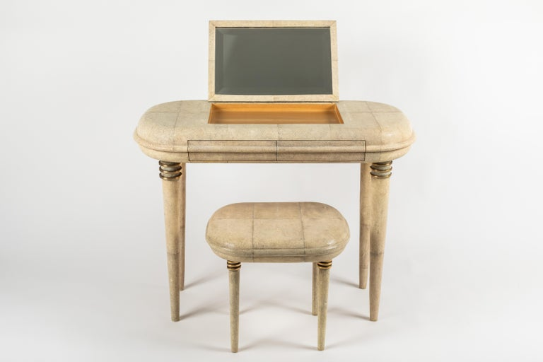 Shagreen Dressing Table and Stool by R&Y Augousti, Paris For Sale 1