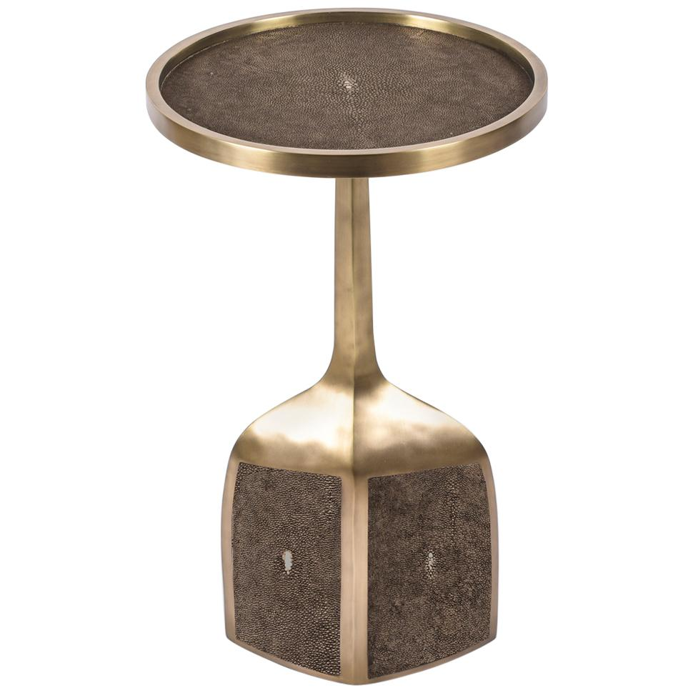 Shagreen End Table with Brass Details by R&Y Augousti
