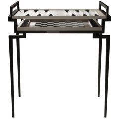 Shagreen Game Table with Black Metal Accents by R&Y Augousti