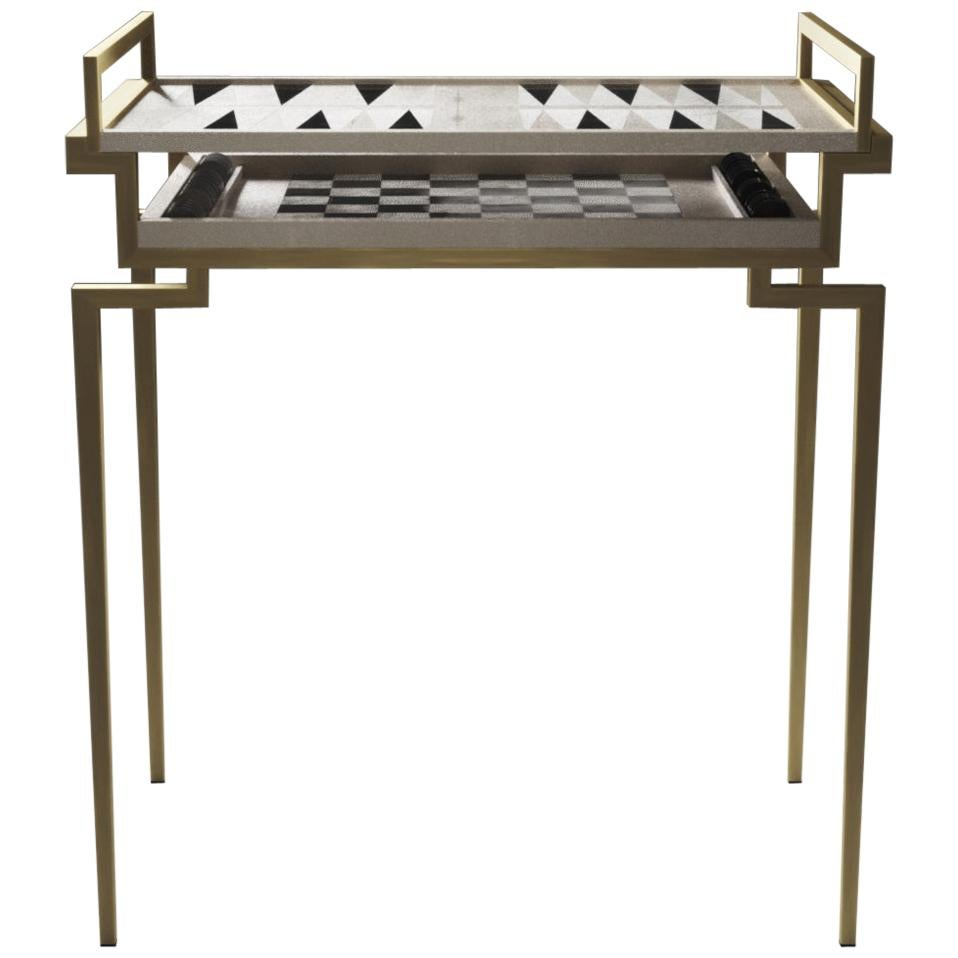Shagreen Game Table with Bronze-Patina Brass Accents by R&Y Augousti
