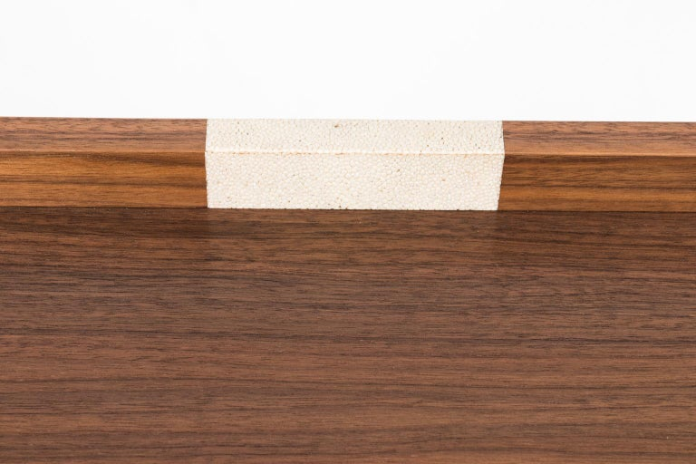 Contemporary tray style occasional table in walnut with shagreen inlay by Paul Frankl craftsman.