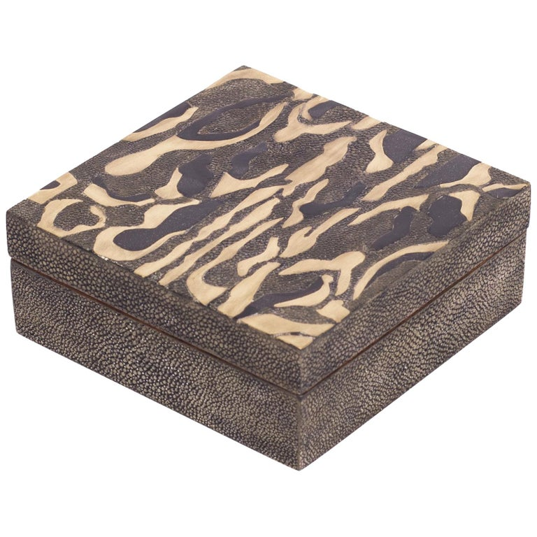 Shagreen Leopard Pattern Box with Shell and Brass Details by Kifu Paris For Sale